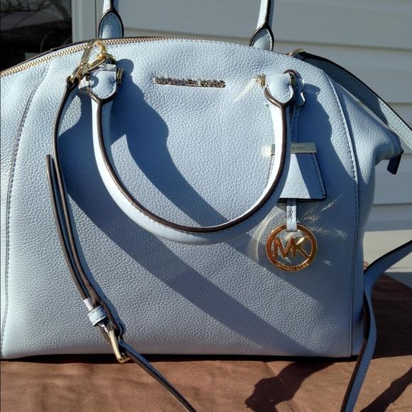 d781c221393749 Michael Kors Bags | Lg Satchel Riley Color Pale Blue | Poshmark