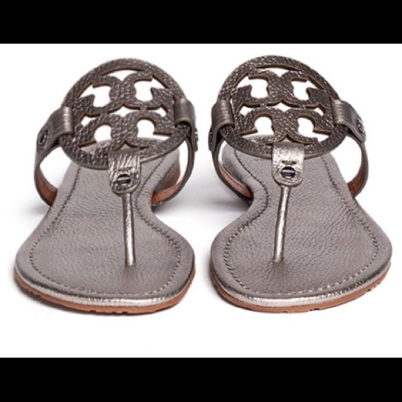 a4ac9000ba17a Tory Burch Miller Metallic Pewter Thong Sandal