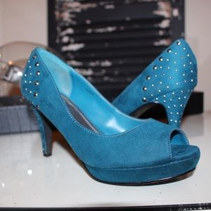 Shoes - Teal Studded Heels