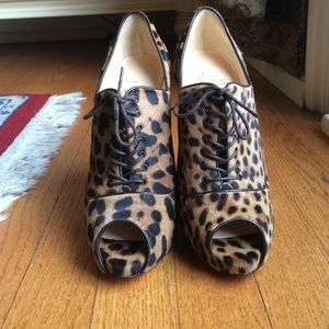 New Christian Louboutin Leopard Lace Up Booties