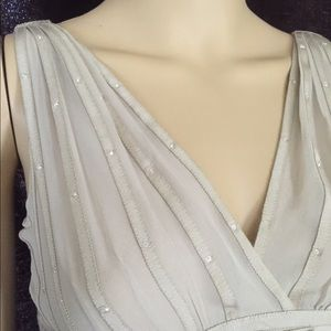 Ribbon Pleated Taupe Silk Set by Elie Tahari XS/S
