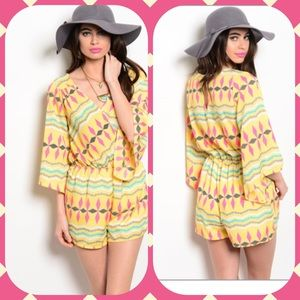 Outerwear - Pink Yellow & Gray Romper