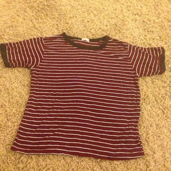 300b7450c0 Brandy Melville Tops | Brandy Maroon And White Striped Shirt | Poshmark