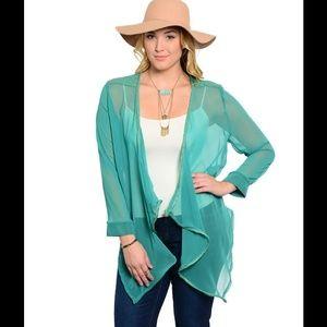 76% off Sweaters - Black Crochet Back Drape Plus Size Cardigan ...