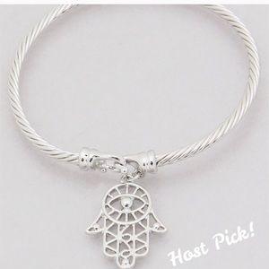 Jewelry - Rhodium tone Hamsa hand bracelet