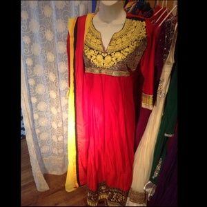 Dresses & Skirts - Red salwar kameez