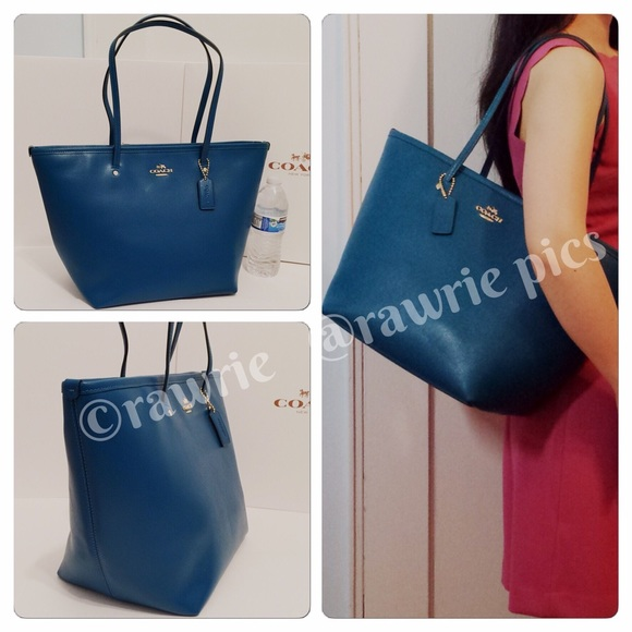f0c51f2cf4 ... spain new coach large teal leather zip top tote 2ddfb e9ae8 ...