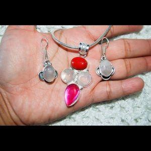 handmade & handcrafted gemstone jewelry Jewelry - ✂️SALE✂️Rose Quartz Pendant & Earrings Set 925S