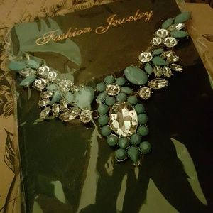 Teal and crystal statement necklace