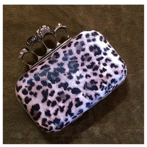 Leopard Print Clutch & Skull Ring Handle