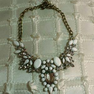 White statement rhinestone necklace