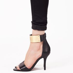 Jeffrey Campbell Shoes - Jeffrey Campbell Inaba in Black& Gold Strap