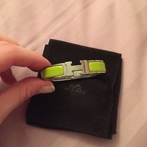 Authentic Hermes Clic H enamel bracelet Lime Green