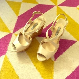 Prada white satin silk wedge 37