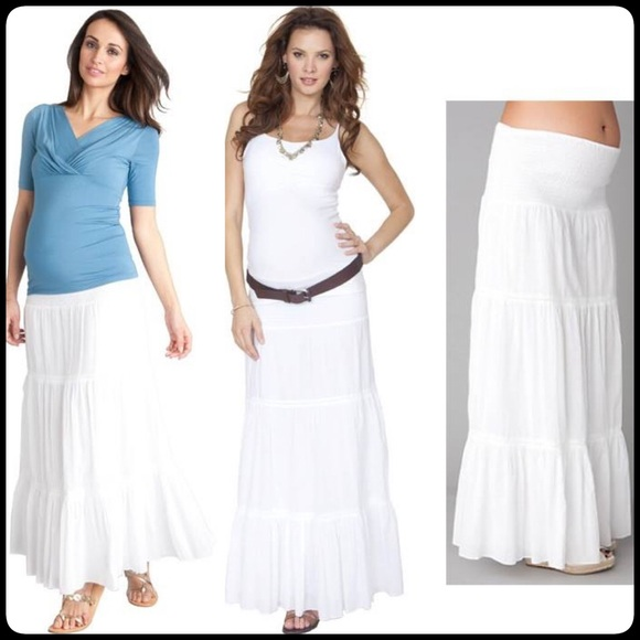 White Maternity Maxi Skirt