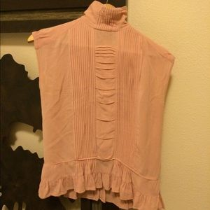 ZARA rose pink pleated high-neck blouse