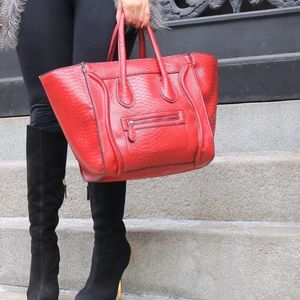 Red structured purse