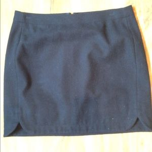 J Crew wool black mini skirt.