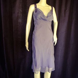 Catherine Malandrino Lilac Silk & Leather Dress