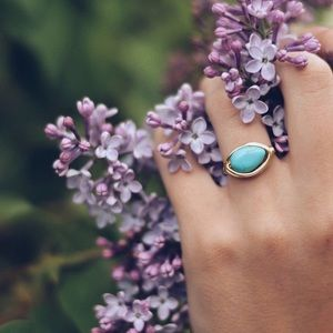 Turquoise Colored Wire Wrapped Ring