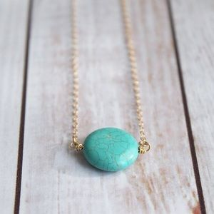 Turquoise Colored Circle Pendant Necklace
