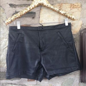 Pants - Uniq Leather High Waisted Shorts