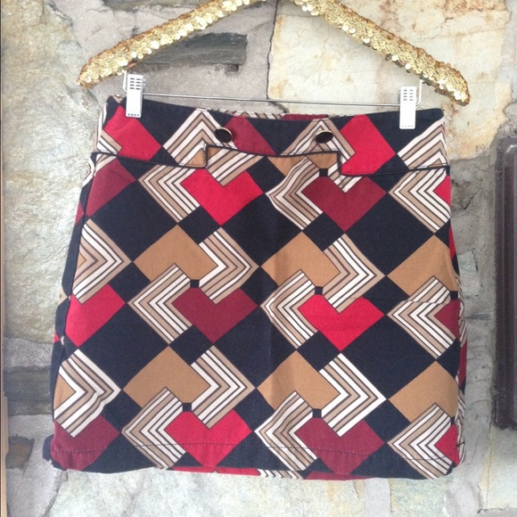 Ann Taylor Loft graphic mini skirt