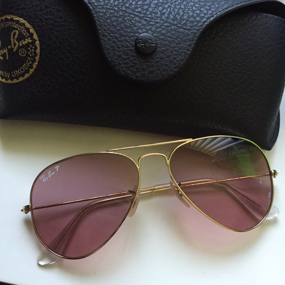 ray ban aviator 55 polarized  58% off Ray-Ban Accessories - Ray-Ban pink Polarized Aviator 3025 ...