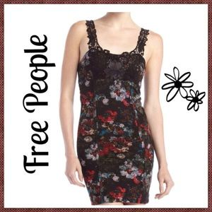 FREE PEOPLE FLORAL CROCHET BODYCON DRESS