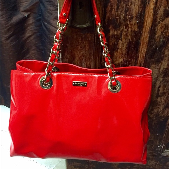 83% off kate spade Handbags - Red patent leather Kate Spade Helena ...