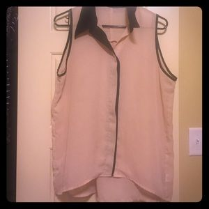 Liberty love Tops - Champagne collared shirt with black trim.