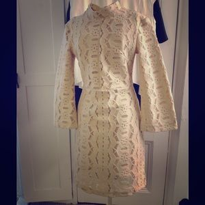 Nude 60s inspired lace dress