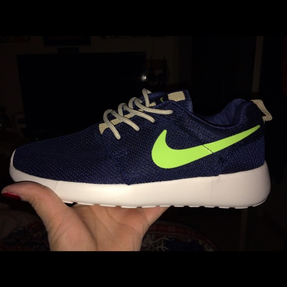 Navy blue and Neon Green Nike Roshe Run Shoes