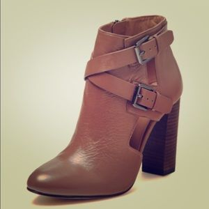 Taupe Distressed Leather Booties