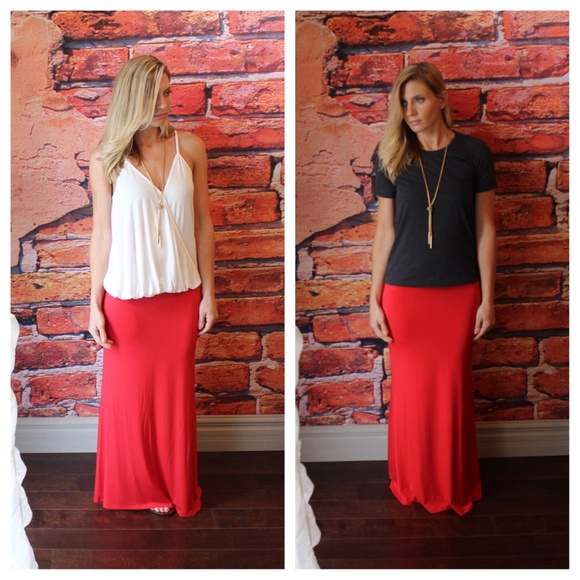 35% off Dresses & Skirts - Long red maxi skirt from Suzanne's ...