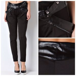 Pants - Black Pants with Faux Leather Details