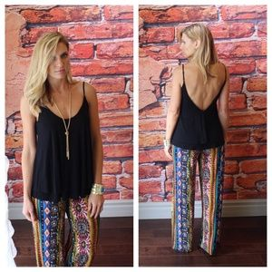 Black layered low back tank