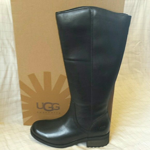 Ugg seldon black leather riding knee boots 7.5 NWB