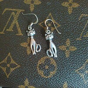 Vintage .925 kitty dangle earrings