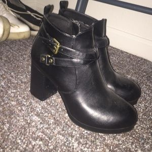 Christian Siriano Boots - Black Buckle Boots