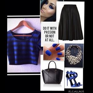 Black and blue striped crop top. NWOT!