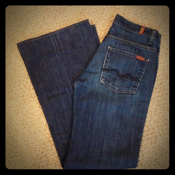 7 for all Mankind - 7 FAM Dark Blue Ginger Wide Leg Jeans from ...
