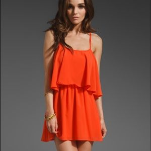 lovers + friends sun kissed dress in coral L