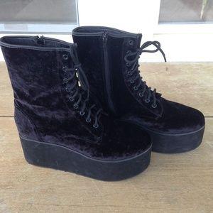 85437a89b04d8e YRU Shoes | Sold On Depop Platform Boots Black Velvet | Poshmark