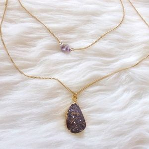 Jewelry - Purple glittery druzy double pendant necklace