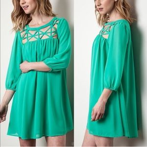 The MARYKAY caged dress - EMERALD GREEN