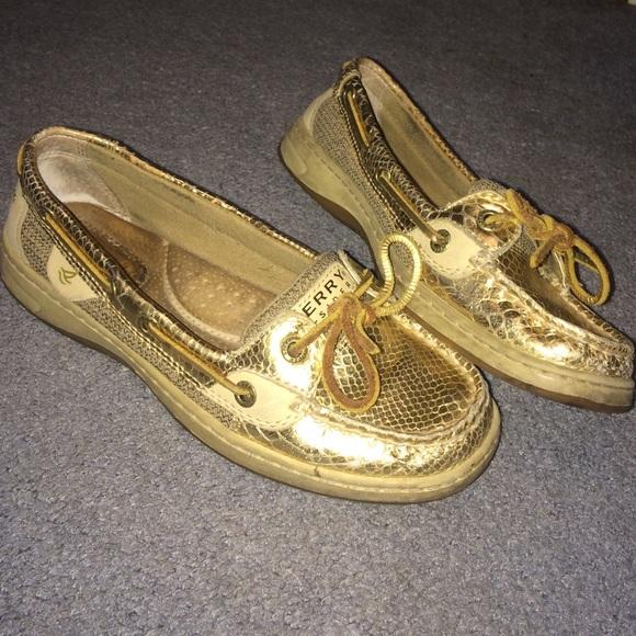 Sperry Shoes   Gold Snakeskin Sperrys