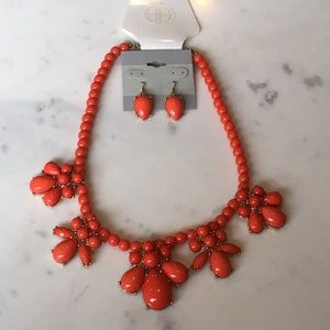 NWT Red Statement Necklace Earrings Set Bundle