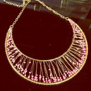 Pink Beaded Gold Statement Bid Necklace