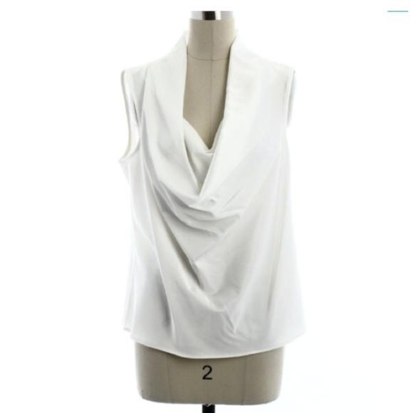 83% off Calvin Klein Tops - Calvin Klein white cowl neck dressy ...